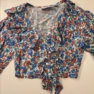 Very Cute Floral Crop Top with Ruffle Detailing